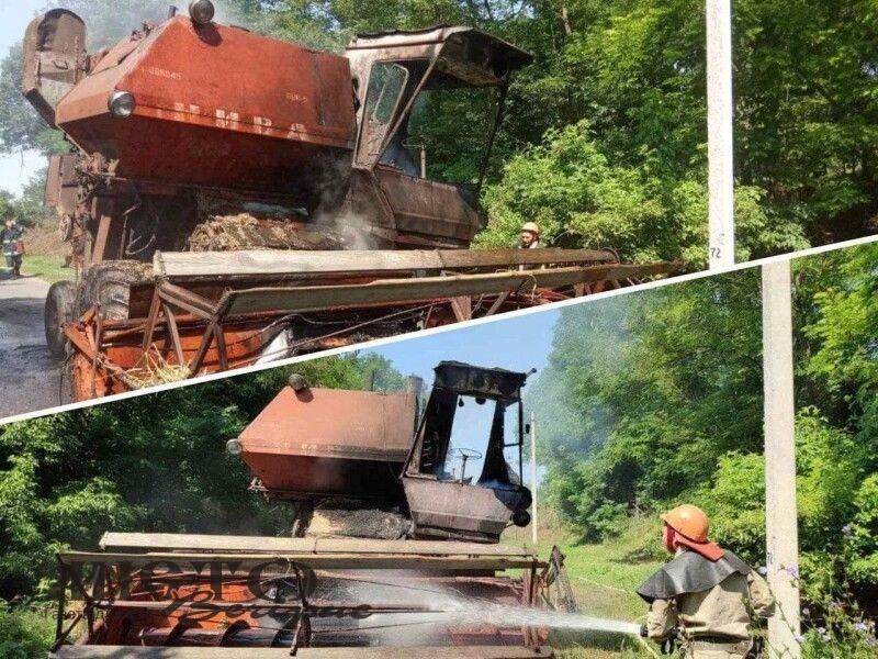 На Любомльщині загорівся комбайн