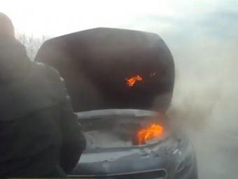 На Волині у водія на ходу загорівся автомобіль